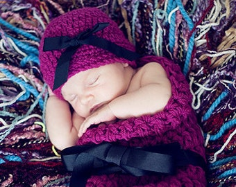 HAT and Cocoon Baby Newborn Photo Prop in WILDBERRY / Photography Hat Cocoon photo shoot new baby / Gift Baby Shower Hat Wrap New Baby Photo