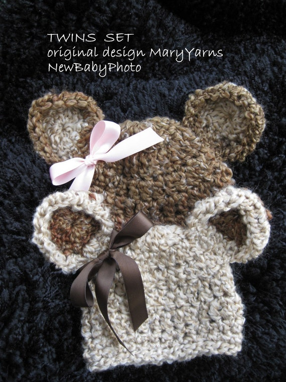 TWINS Teddy Bear HAT in  Brown/Creamy Baby Photo prop - Photography Session Newborn Infant