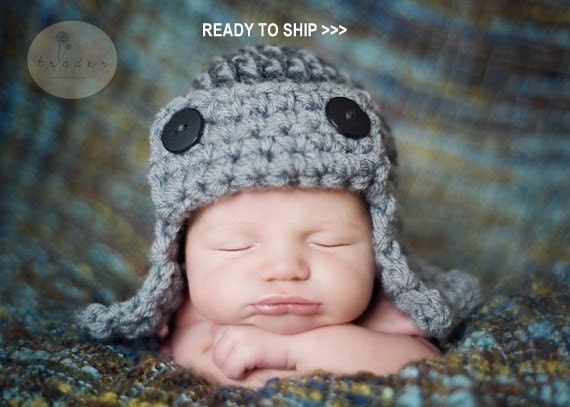 IN STOCK The AVIATOR Hat Newborn size Baby Photo prop in Gray Photography Flyer Hat infant girl boy photo session newborns all babies photo