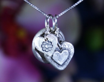 Heart Charms Pendant - Silver Heart - Silver Charms - Charms Necklace - Silver Necklace - Heart Charms