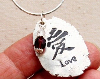 Love Pendant - Chinese and English - Chinese Jewelry - Love Jewelry - Handmade Jewelry