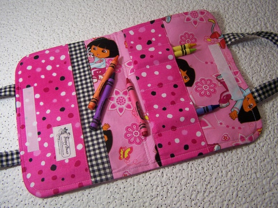 Pink Dora the Explorer Ready-to-Go Childs Travel Crayon tote with crayons - Shipping included