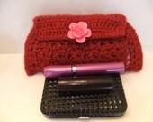 Red Crochet Clutch Purse, Evening Clutch, Handmade, Rose Button, Snap Closure, Accessorie, Fasionable