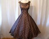 On Hold 1950's designer Emma Domb new look dress black lace over light pink satin illusion vlv holiday pin up girl - size Medium to Large