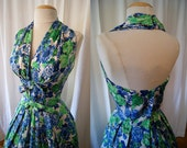 Killer 1950's  halter dress blue floral print cotton party dress new look spring low back  vlv lovely - size Small