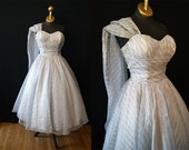 On Reserve Amazing 1950's blue and silver stripe chiffon strapless new look party prom dress with shawl shoulder vlv cupcake - size Small