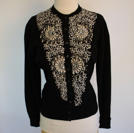 SWEATER GIRL Black Cashmere 1950's Heavily Beaded Cardigan Sweater - Pearls, Beads, and Sequins - Size L/XL