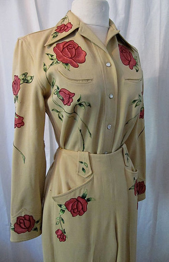 1950s Rodeo Queen Gorgeous Gabardine Cowgirl Suit By