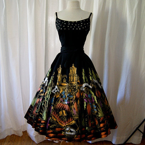 Gorgeous 1950's hand painted Mexican skirt with Mariachi and dancers fiesta vintage Mexicana rockabilly swing party skirt - Size Medium