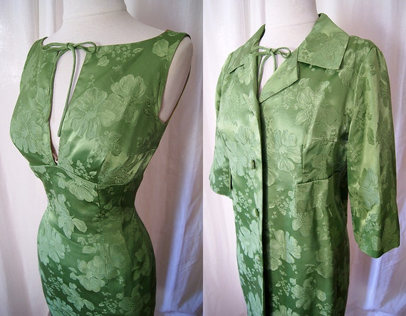 Lovely vintage 1950's green silk brocade party wiggle cocktail dress with matching coat holiday vlv chic - size Small