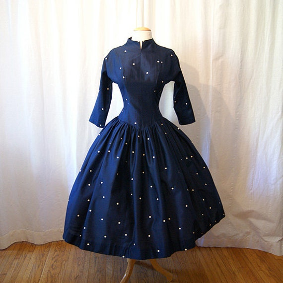 New look 1950's silk  party dress  prom  dress with white polka dots chic classic  rockabilly vlv  - size Medium