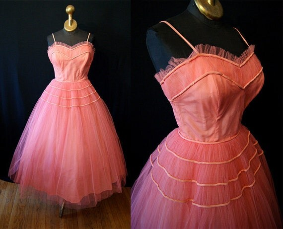 "Lovely 1950s Designer ""Emma Domb""Coral Peach Tulle Prom Party Dress Gown Rockabilly Bride Sweetheart Cupcake Pinup Size Medium"