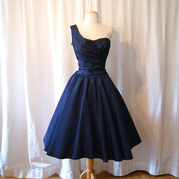 On Hold Chic 1950 S Midnight Blue Satin New Look Cocktail