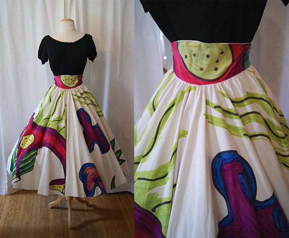 Rare 1950's abstract artist signed hand painted Mexican circle skirt vlv rockabilly Taxco - size Medium