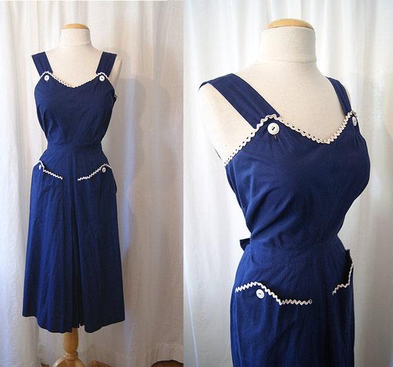 Adorable 1950's navy blue cotton day sun dress with ric rac trim vlv summer pin up girl - size Medium