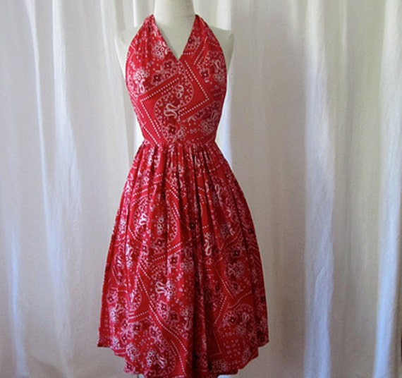 Rockin 1950's red cotton bandana print halter day sun dress rockabilly bombshell vlv summer - size Small