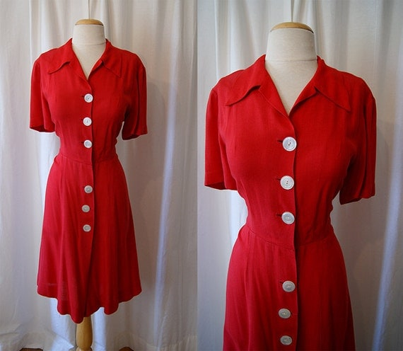 Darling 1940's red linen button front day dress WW2 pin up girl swing vlv - size Large to XL
