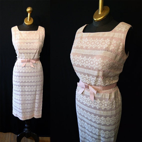 Lovely 1950's designer pink and white illusion lace summer cocktail wiggle dress with pink bow belt vlv pin up girl - size Large