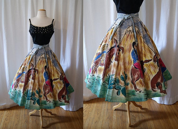 Festive 1950's hand painted Maya de Mexico Mexican circle skirt with sequins donkeys burros vlv - size Large