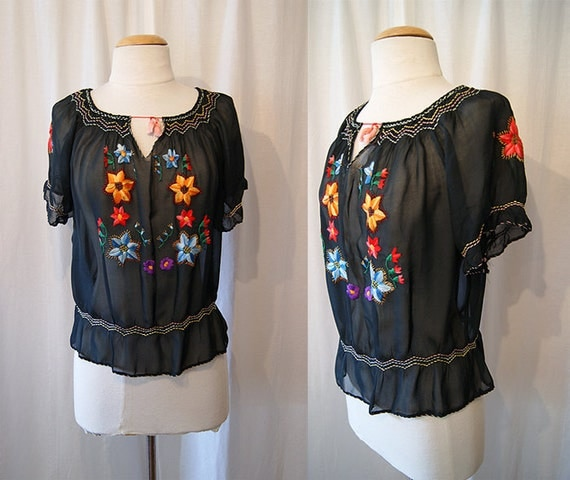 On Hold Lovely 1940's sheer black Mexican peasant blouse with colorful hand embroidered floral print rockabilly WW2 - size Medium to Large