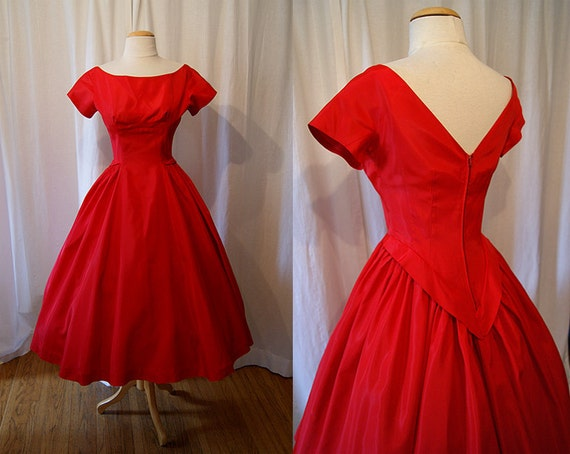 Chic 1950's red taffeta new look party dress pin up girl formal vlv - size Small
