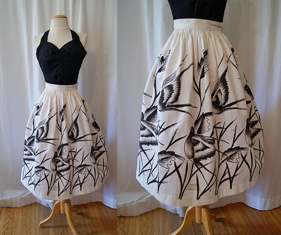 Darling 1950s / 1960's novelty bird print cotton circle skirt summer casual vlv - size Medium