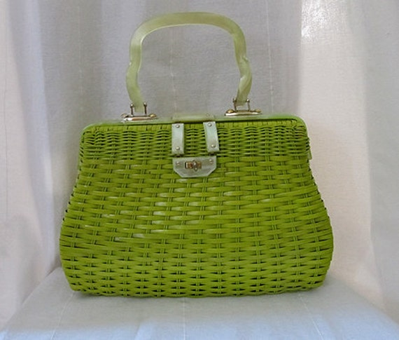 On hold Killer 1950's acid green woven handbag with lucite handle and hardware vlv tiki summer