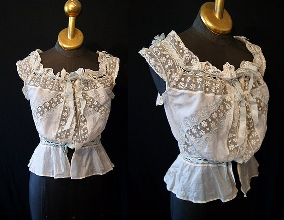 RESERVED- CLEARANCE Beautiful 1900's Victorian ivory silk chemise blouse top with pale blue accents and lace size Extra Small to Small