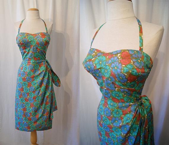 Sizzling 1950's Hawaiian silk floral print halter sarong sun dress Calabash House Tori Richard Honolulu tiki pin up - size Small to Medium