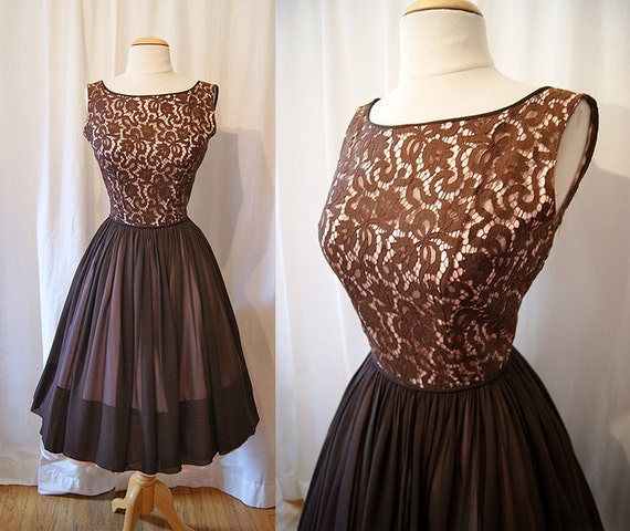 Elegant 1950's chocolate brown illusion lace new look party dress with chiffon skirt vlv rockabilly - size Medium