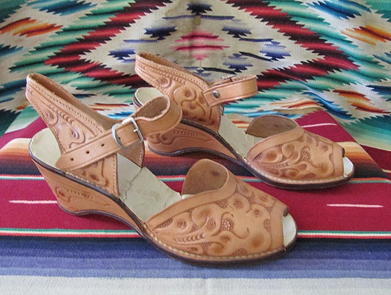 On Hold for Taryn  Festive 1950's hand tooled Mexican leather wedge heels with ankle strap vlv rockabilly summer - size 8