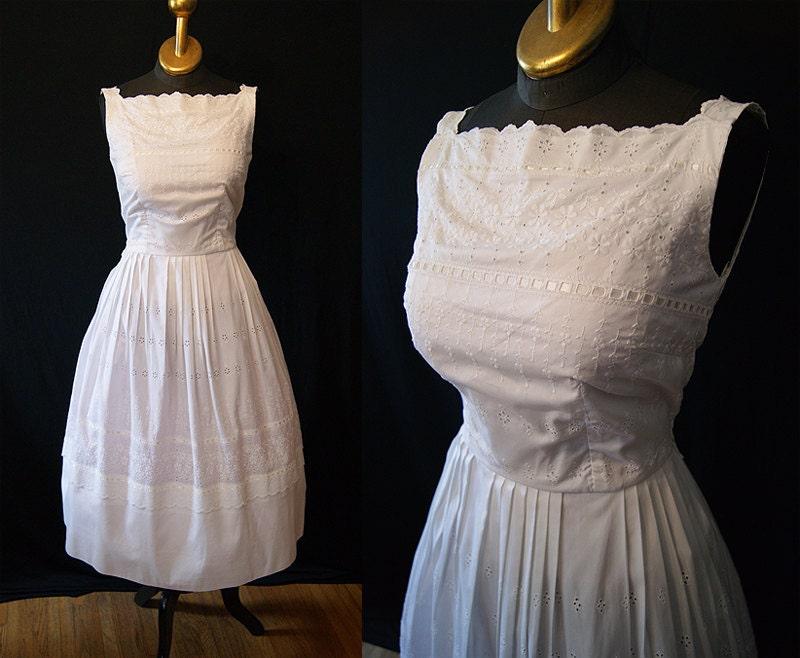 Summer Wedding 1950 39 S White Cotton Eyelet Sun Dress Vlv