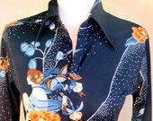 Vintage 1970's French Disco Blouse Starry Night