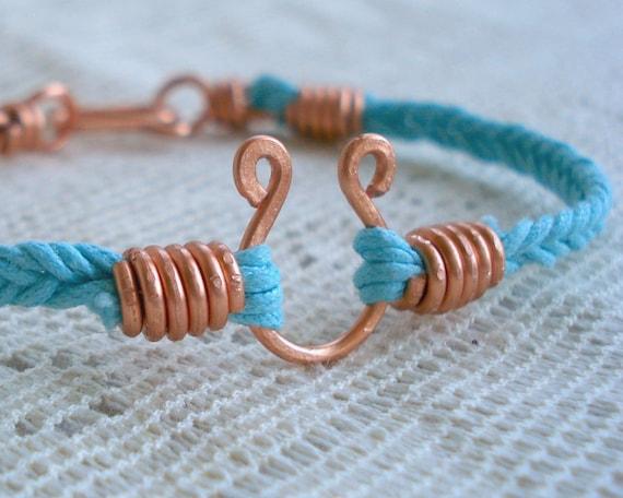 Lucky Horseshoe Braided Bracelet in Turquoise
