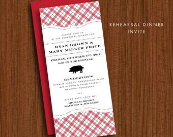 BBQ Invitation - JPress Designs, rehearsal dinner, plaid, pig, barbecue, modern, simple, red, white, oktoberfest, picnic, printable