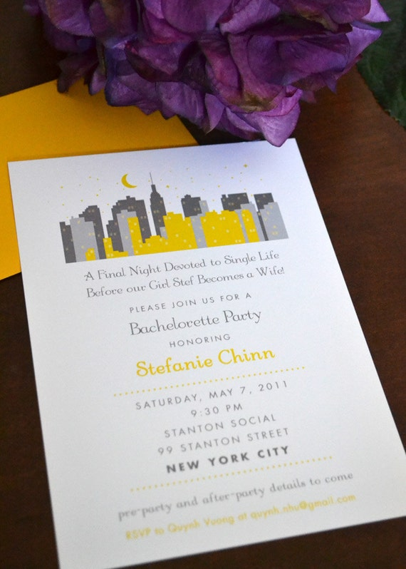 New York City Invitation - J Press Designs - bachelorette party, girls trip, weekend, NYC, skyline, modern, clean, popular, travel, Brooklyn