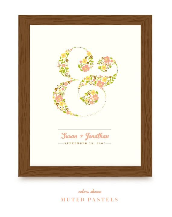 Art Print - Floral Ampersand Custom Print - JPress Designs - modern, wedding, gift, couple, present, original, custom, keepsake, colorful