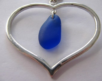 Heart Pendant, Blue Necklace, Sea Glass Jewelry, BLUE Beach Glass, Beach Glass Jewelry, Gift for Her