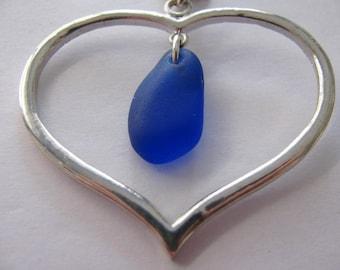 Heart Pendant, Blue Necklace, Sea Glass Jewelry, BLUE Beach Glass, Beach Glass Jewelry, Gift for Her