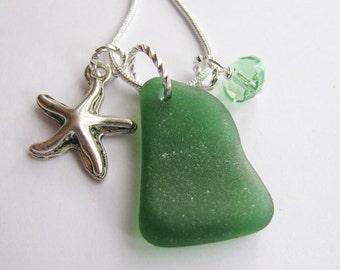 Starfish Charm Pendant, Starfish Jewelry, Starfish Necklace, Beach Glass Jewelry, Gift for Her, Sea Glass Jewelry, Beach Jewelry