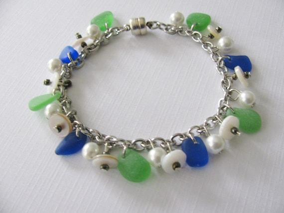 Sea glass bracelet blue green -  beach glass jewelry