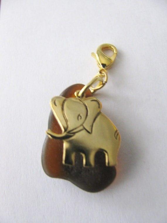 Elephant Sea glass charm ----- bracelet, pendant, zipper pull, or cell phone dangle