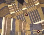 SALE - Wool Bomber Jacket, Vintage Handmade Wool Jacket, Geometric, Black Olive Jacket, Vubtage Woll Unisex Jacket, Wool Geometric Jacket