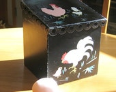 Country Cottage Chicken, Vintage Black Metal Box, Vintage Storage, Vintage Kitchen