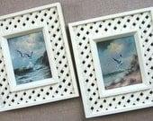 Seagull Lattice Style Faux Wood Framed Prints Vintage