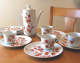 Saltera Dogwood Coffee Set, 6 Serving, Coffee and Dessert Set for SIX, Serving for SIX Set Orange Coffee Pot Cups, 1976 Coffee Service
