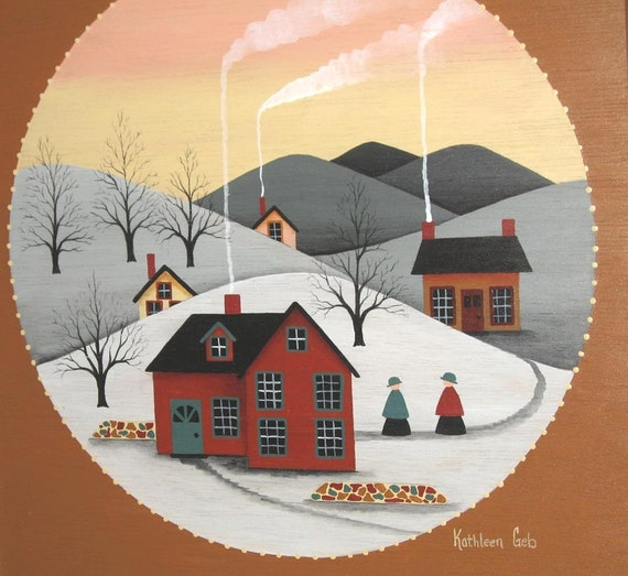 Country Folk Art Painting, Primitive Winter Painting, Vintage Wood Painting