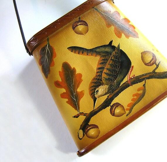 Bird Leather Shoulder Bag Handmade Handpainted Vintage Fall Design, Nuthatch, Oak Leaves, Acorns