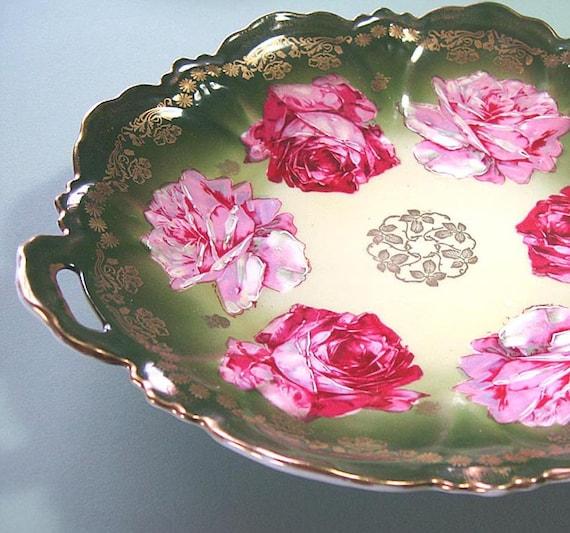 Zeh, Scherzer & Co. Bavarian Rose Serving Cake Plate, Rose Pattern Plate, Antique Cake Plate