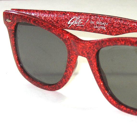 8b776c2f002 Red Glitter Ray Ban Wayfarer Style Sunglasses
